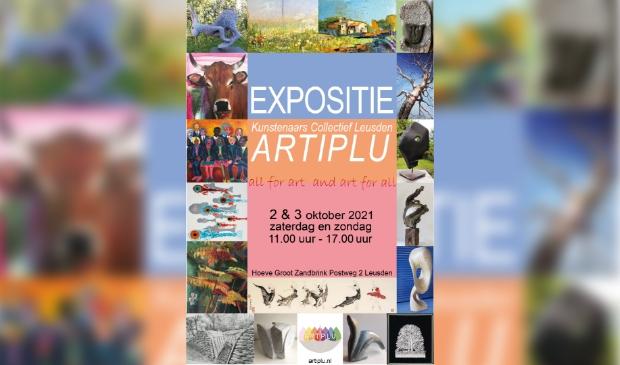 Aankondigingsposter met selectie van kunstwerken