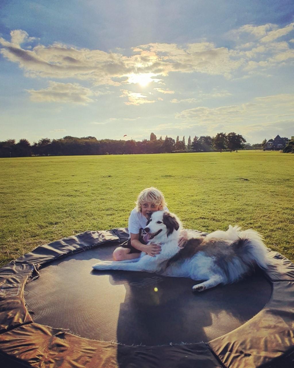 Tijdens een heerlijke avondwandeling was het onderweg knuffeltijd op de trampoline. Onze grote reuzin uit Roemenië, Lina (1 jaar), is Quinn (10 jaar) zijn beste vriend(in) Sanne Huyser © BDU media