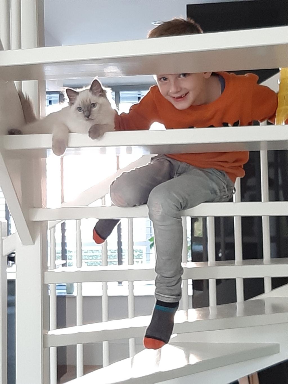 Hier een leuke foto van onze kat Ties met onze zoon Jens (7 jaar). Joline Huygen © BDU media