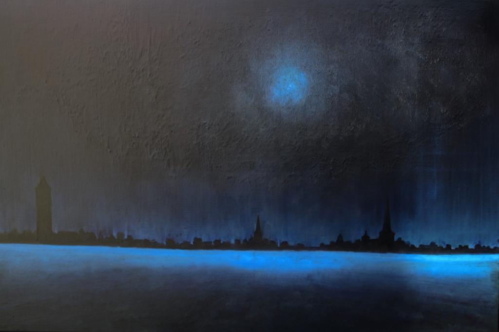 Blue Moonday over Heerenveen in the Sixties. (Schilderij in Heerenveen Museum). Rabbo Ploeger © BDU media