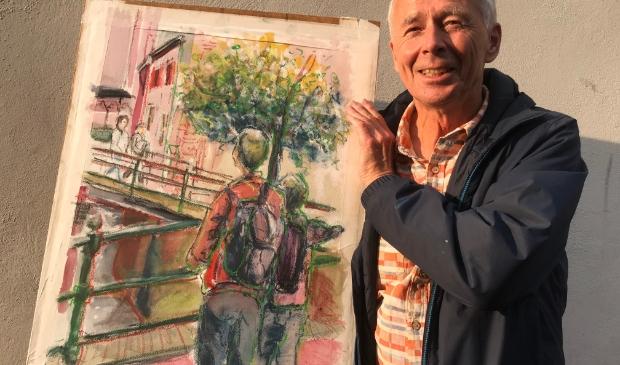 Wim Schaaf met winnend schilderij