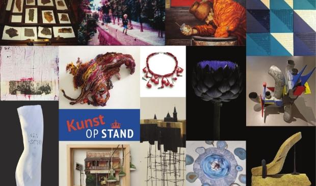 <p>Collage van werken van de kunstenaars die meedoen aan &#39;Kunst op stand&#39;.</p>