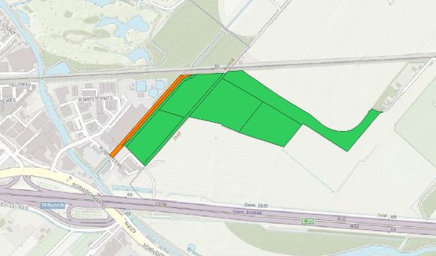 De stukken grond binnen de A12-spoorzone die van het Utrechts Landschap zijn. De groene percelen zijn van UL sinds 1980, het oranje perceel sinds 2006. Utrechts Landschap © BDU Media