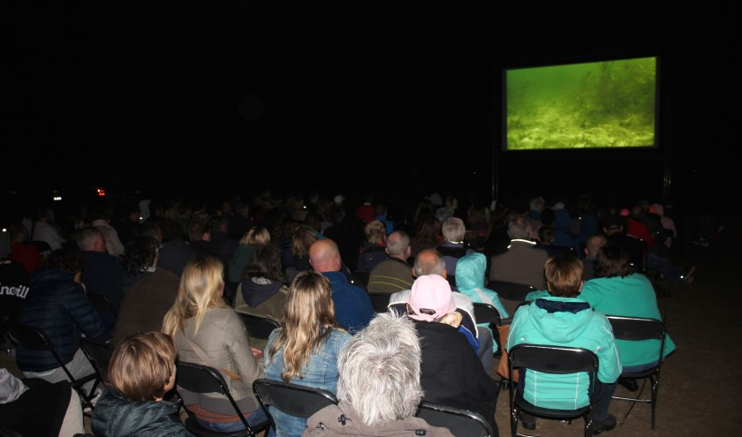 Op het donkere strand zagen zo'n 250 mensen zaterdag de film. (foto en tekst: Erik van Leeuwen)