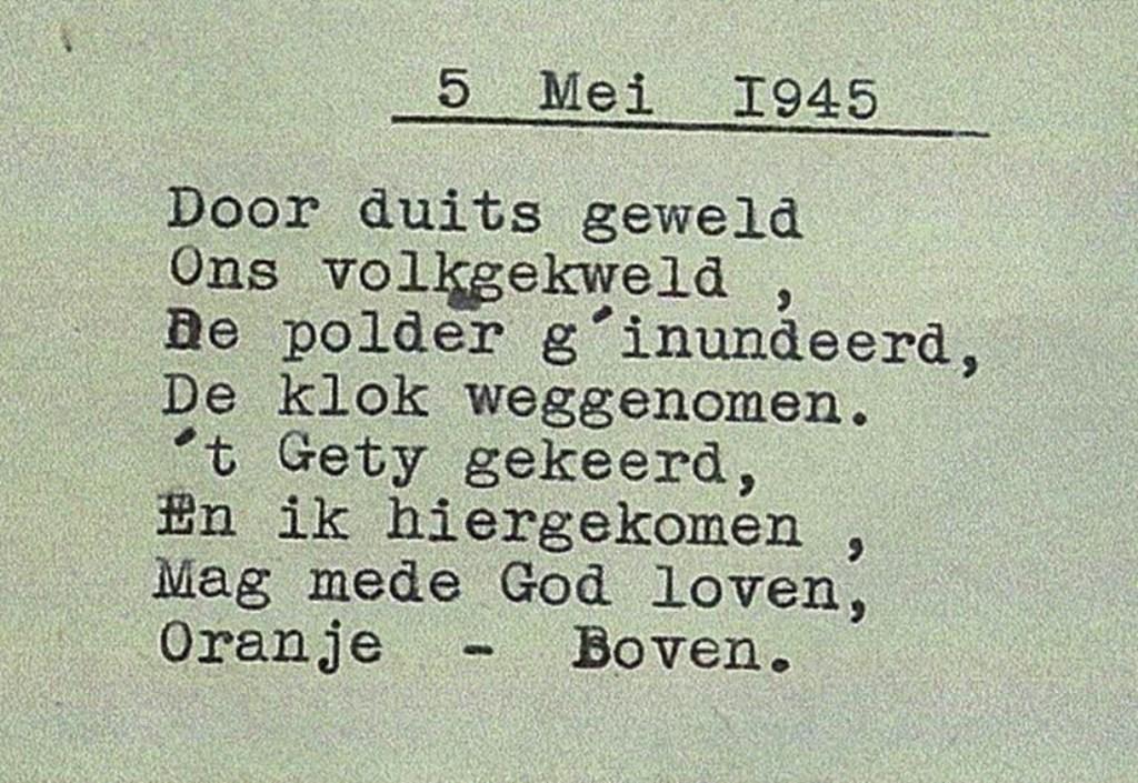 Het gedicht, met tikfouten in de brief, dat Leen Dekker maakte voor de kerkklok.  © HvH Waddinxveen