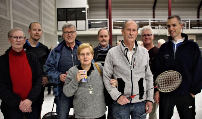 Zeven voorzitters van BCN en lid van het eerste uur, Anja Oostrum tijdens de reünie in de Parkzoomhal.