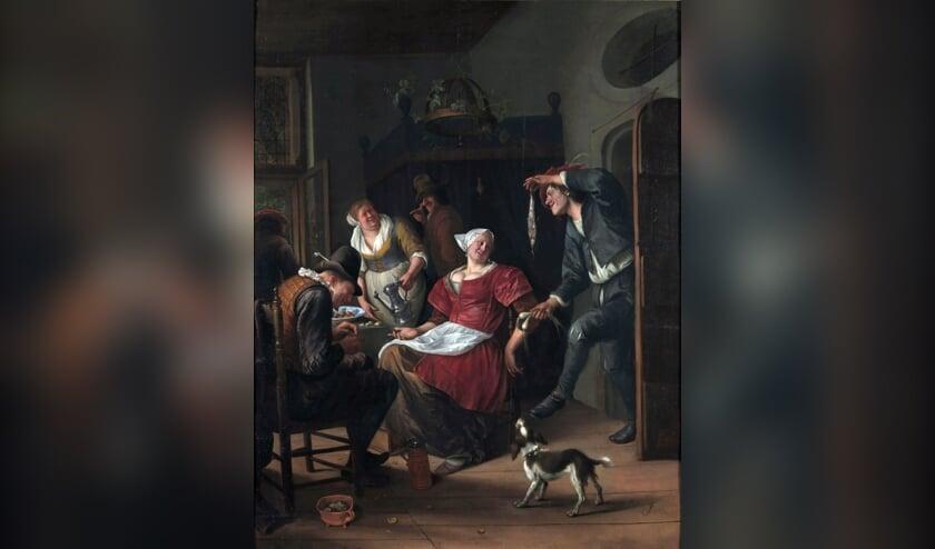 De erotische haring in 'Het minneaanbod' door Jan Steen (1660-1670).