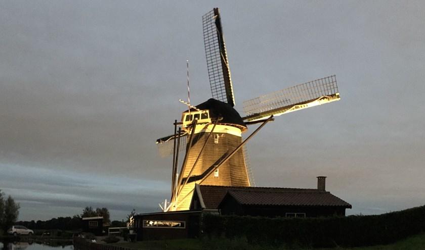 De wieken van de verlichte molens zullen in verband met onderhoud niet draaien. (foto: Jolanda Bakker)