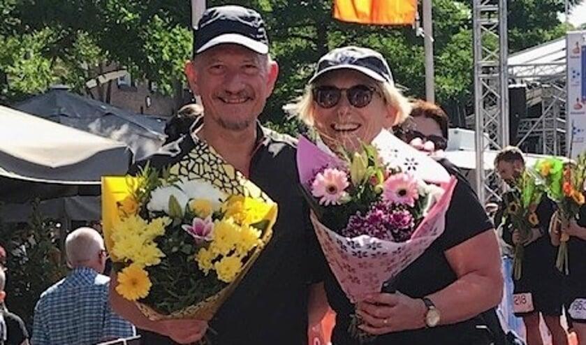 Marga Jordaans wist de zware tocht met steun van haar broer te volbrengen.