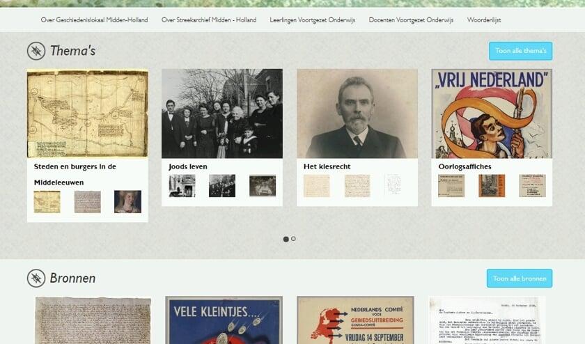 Schermafbeelding van de homepage van de website Geschiedenislokaal Midden-Holland.