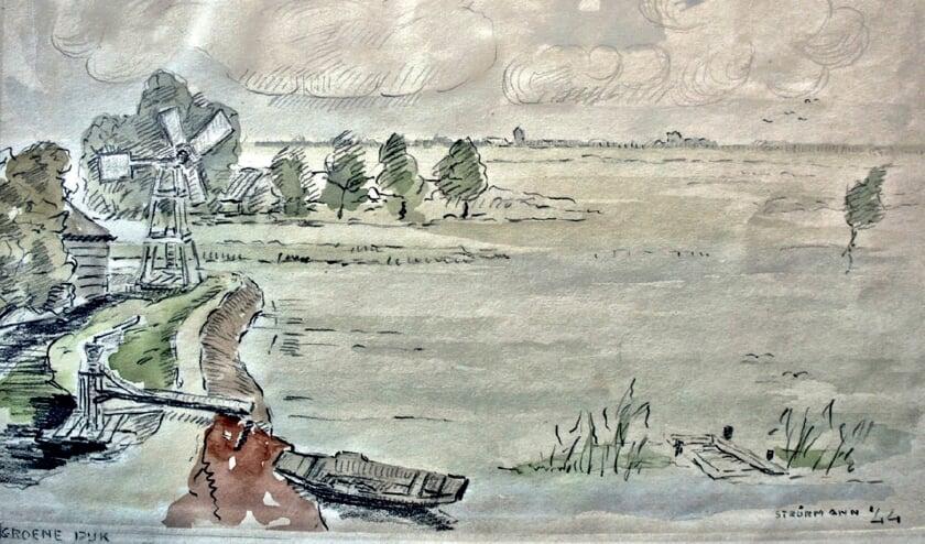 Aquarel van het gemaal van de polder Esse, Gans- en Blaardorp. Wim Strörmann (1899-1961) werd op pad gestuurd om de inundatie vast te leggen, eerst op tekening en daarna als aquarel.