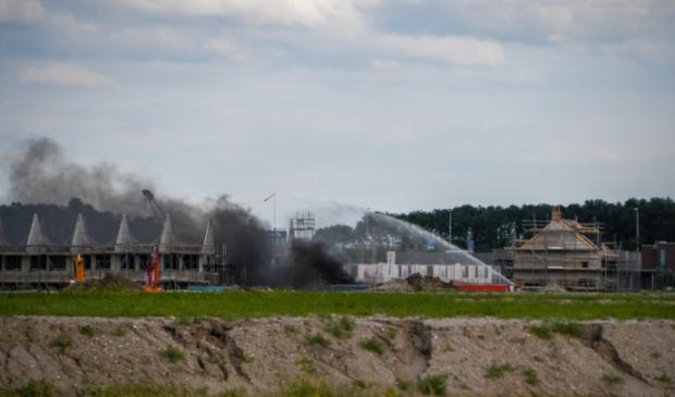 Het vuur was ontstaan in een bouwcontainer. Foto: 112HM © HvH Waddinxveen