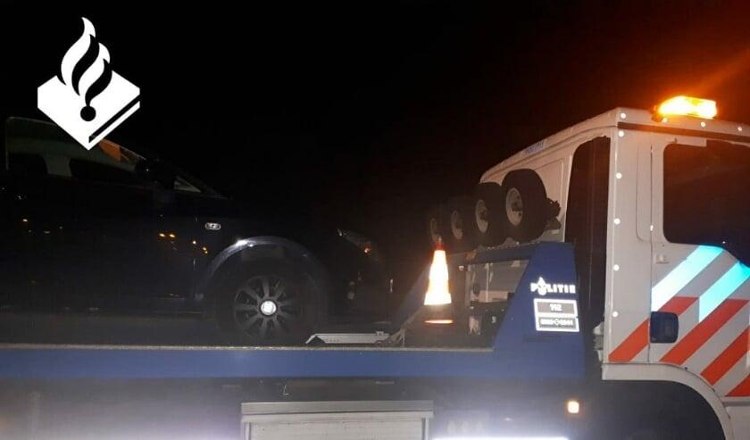 De auto is in beslag genomen op de snelweg nabij Moordrecht.