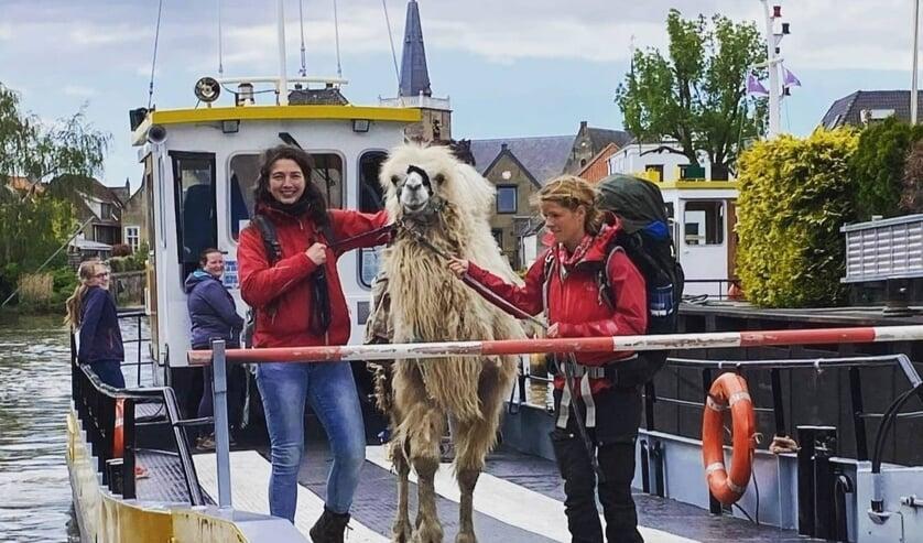 <p>Met het pontje over de Hollandsche IJssel kwamen kameel Einstein en Tamar Valkenier (rechts) naar Moordrecht.</p>