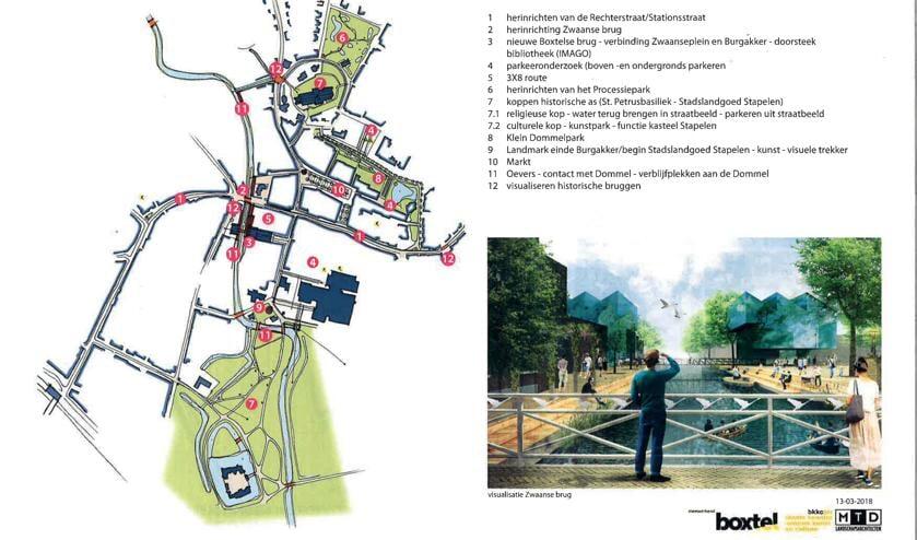 Een schets van hoe de Zwaanse Brug eruit kan komen te zien, als alle ideeën die zijn geopperd voor Boxtel Binnen de Bruggen tot uitvoer komen.   | Fotonummer: cdcdee