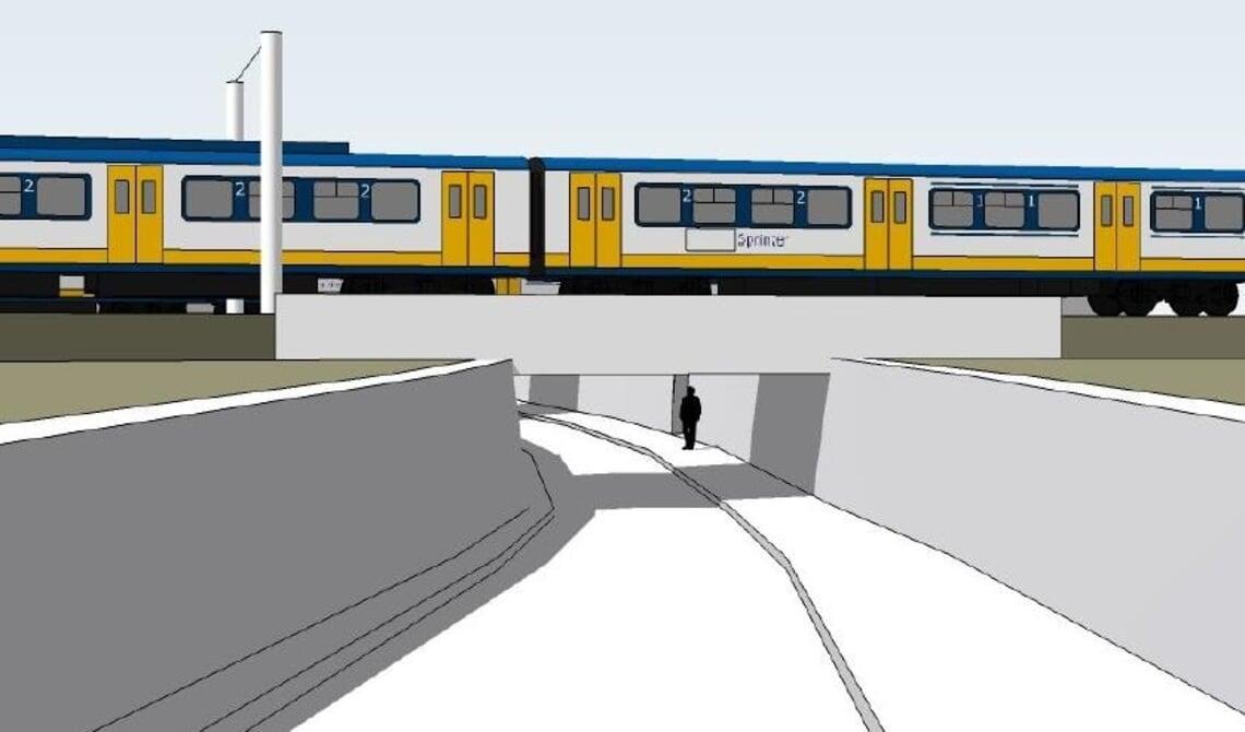 Het voorlopig ontwerp van de fietstunnel.
