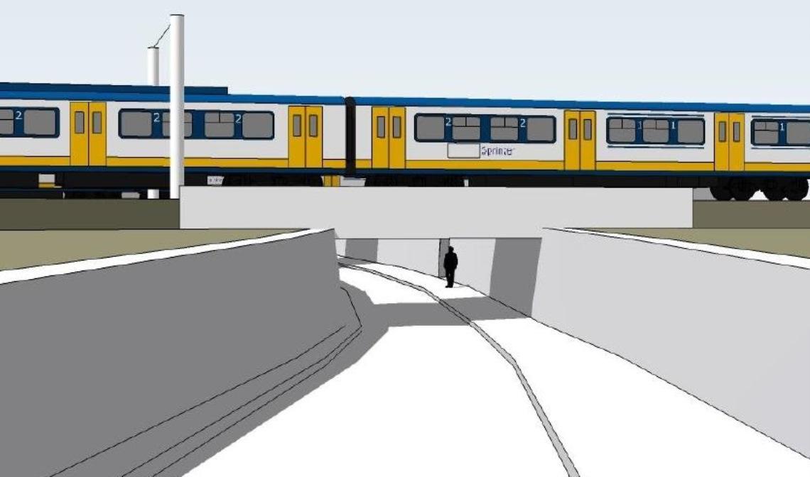 Het voorlopig ontwerp van de fietstunnel, onderdeel van het PHS-maatregelenpakket in Boxtel.