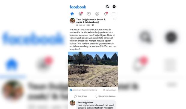 De oproep op Facebook leidde al binnen een uur tot hulp.   © MooiBoxtel