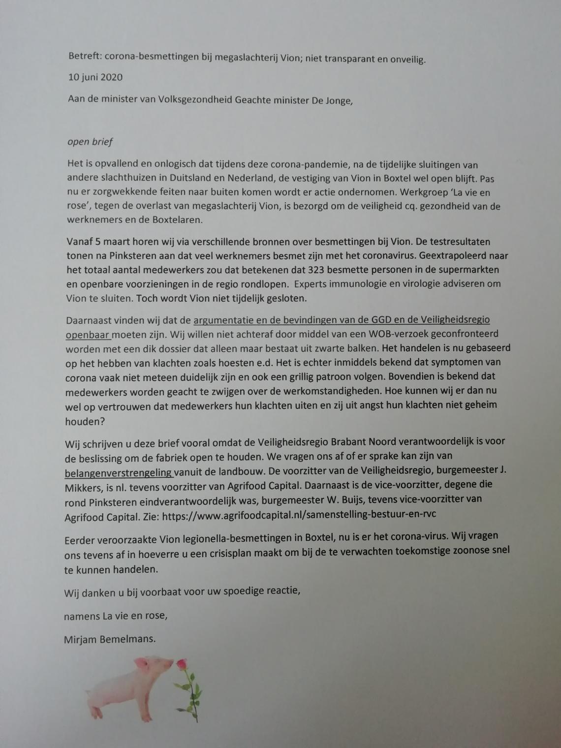 De brief die La Vie en Rose de minister stuurde.
