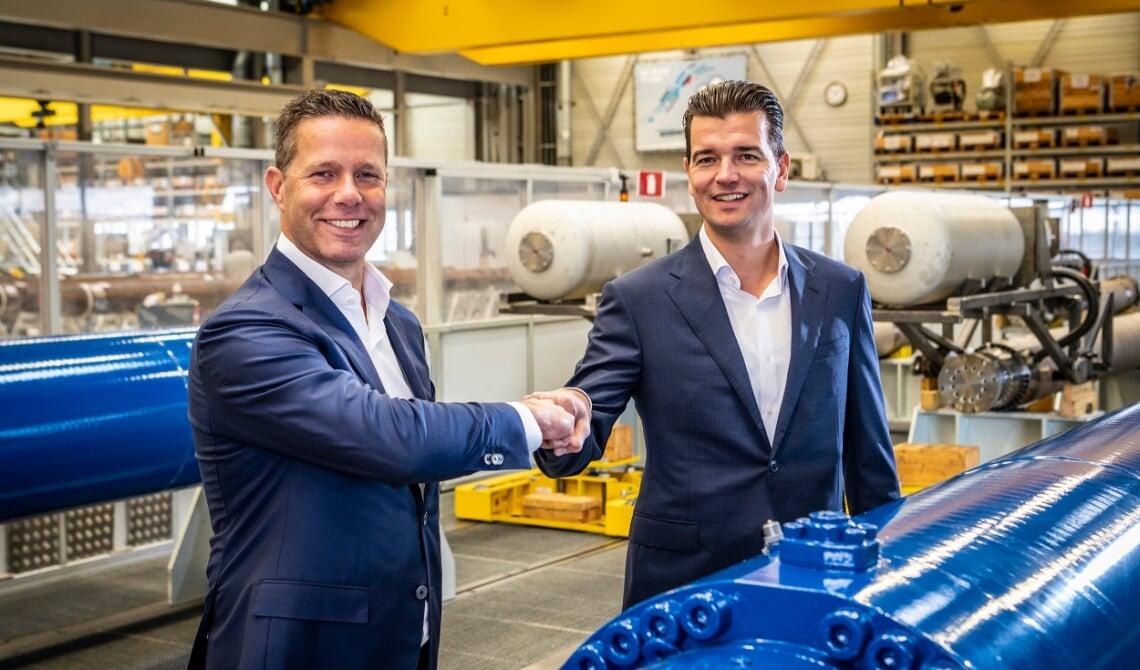 <p>Durk-Jan Nederlof/Bosch Rexroth en Izaak Veerman/Van Halteren Group. (Foto: Thomas Segers)</p>