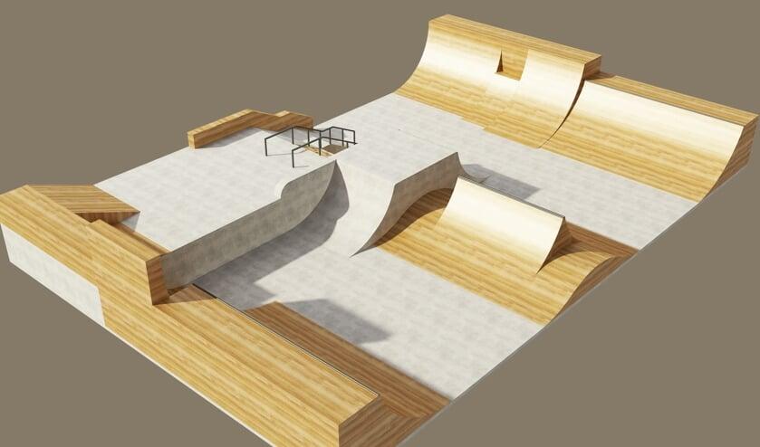 Elia heeft al een digitaal ontwerp gemaakt van hoe het skatepark zou kunnen worden.