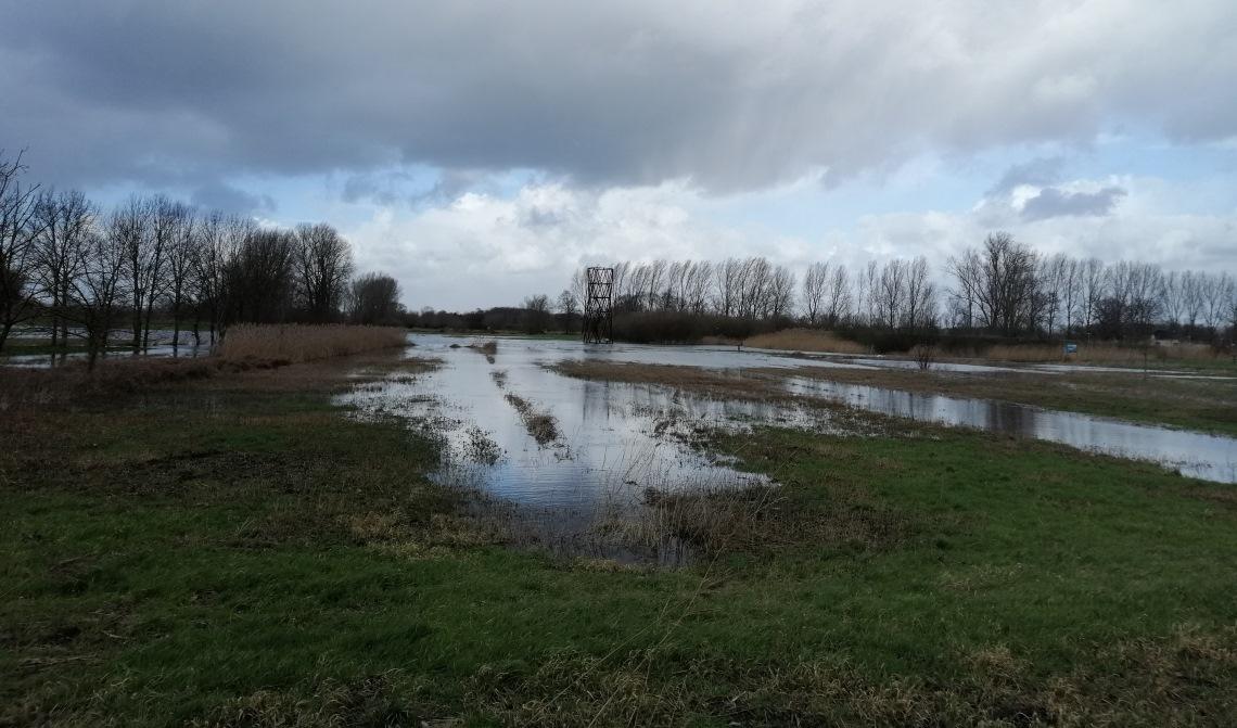 Het water heeft er wel ooit hoger gestaan, maar ook nu is het er kletsnat.