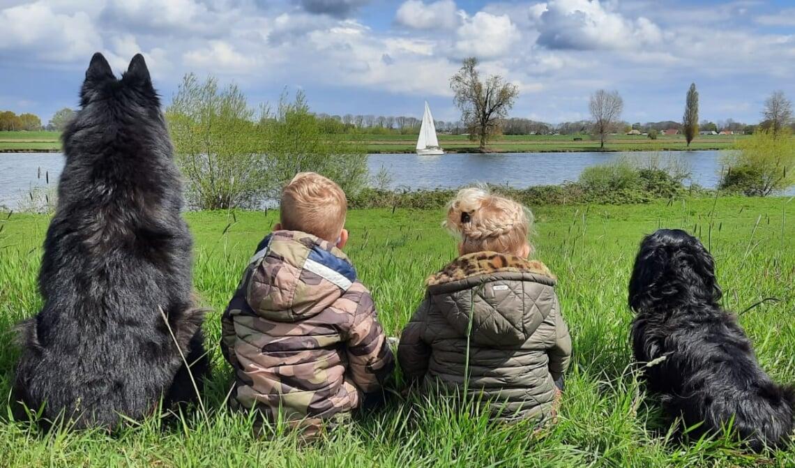 <p>Onze 2 kleinkinderen Luca en Elin vieren gewoon vakantie aan de Maas met hun vriendjes Zira en Bailo.</p>