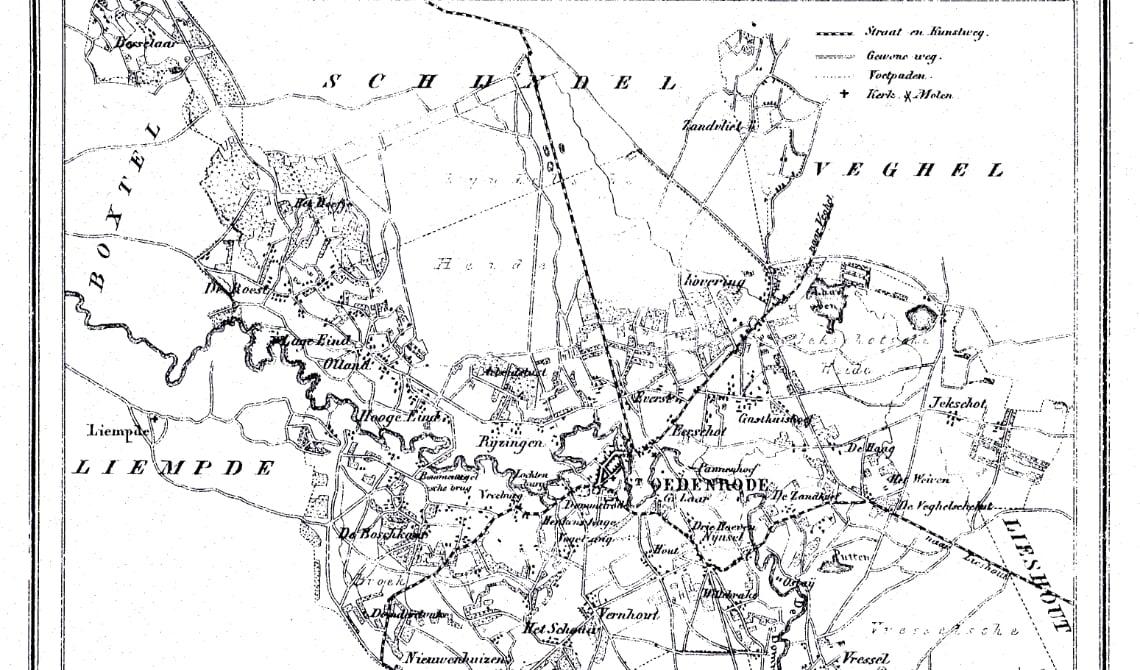 <p>Kaart van Sint-Oedenrode uit 1860 met de namen van haar buren</p>