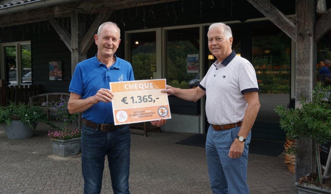 <p>Martien van den Hove (r) neemt de cheque in ontvangst van Ad de Bever.</p>
