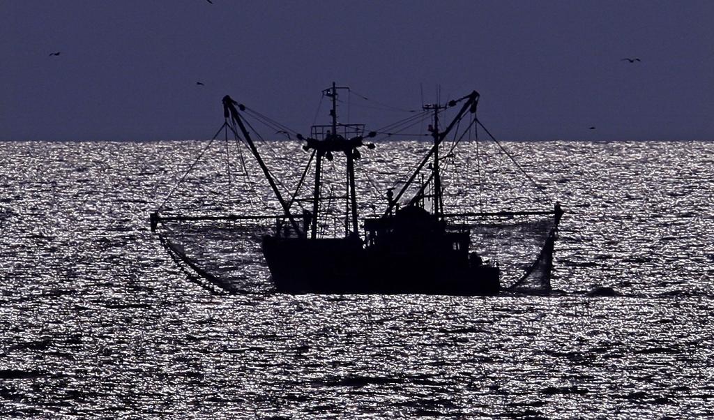 Katwijk, een visserskotter vaart langs de kust.  (beeld anp / Olaf Kraak)