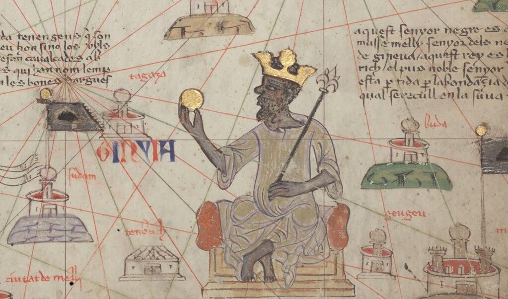 Dankzij de internationalisering van de handel werd Mansa Musa ('Koning Mozes') uit Mali de rijkste man op aarde. Hij reisde in 1324 door Caïro, op weg naar Mekka, met honderd kameelladingen (tussen de twaalf en vijftien ton) goud. Omgerekende waarde: een slordige 700 miljoen euro.  (beeld wikipedia)