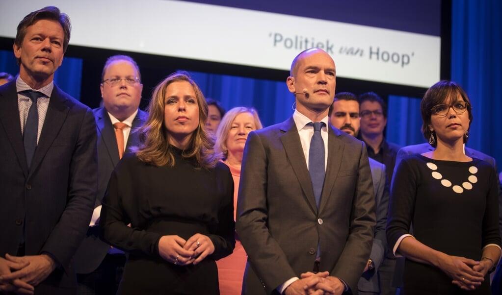 V.l.n.r.: Joel Voordewind, Carola Schouten, Gert-Jan Segers en Carla Dik-Fabe.  (beeld anp / Jeroen Jumelet)