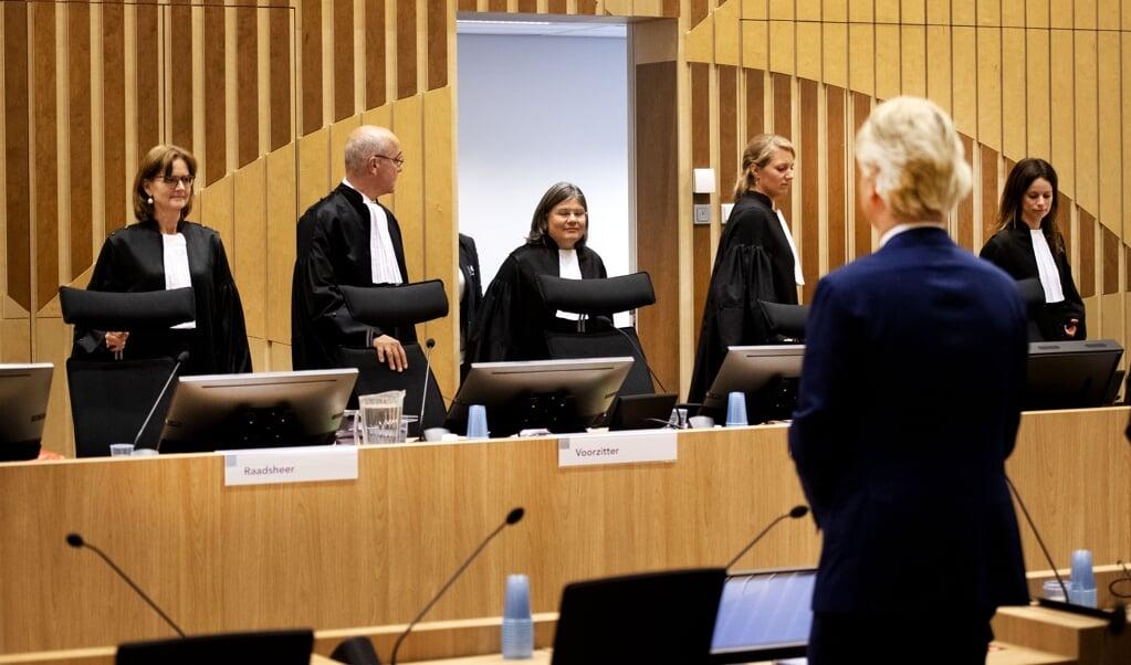 PVV-leider Geert Wilders in de rechtbank van Schiphol gedurende het tweede proces.  (beeld anp / Olaf Kraak)