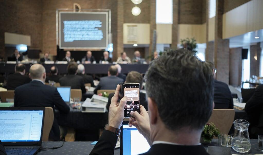 De Synode van de CGK in de Oenenburgkerk in Nunspeet in 2020.  (beeld Dick Vos)