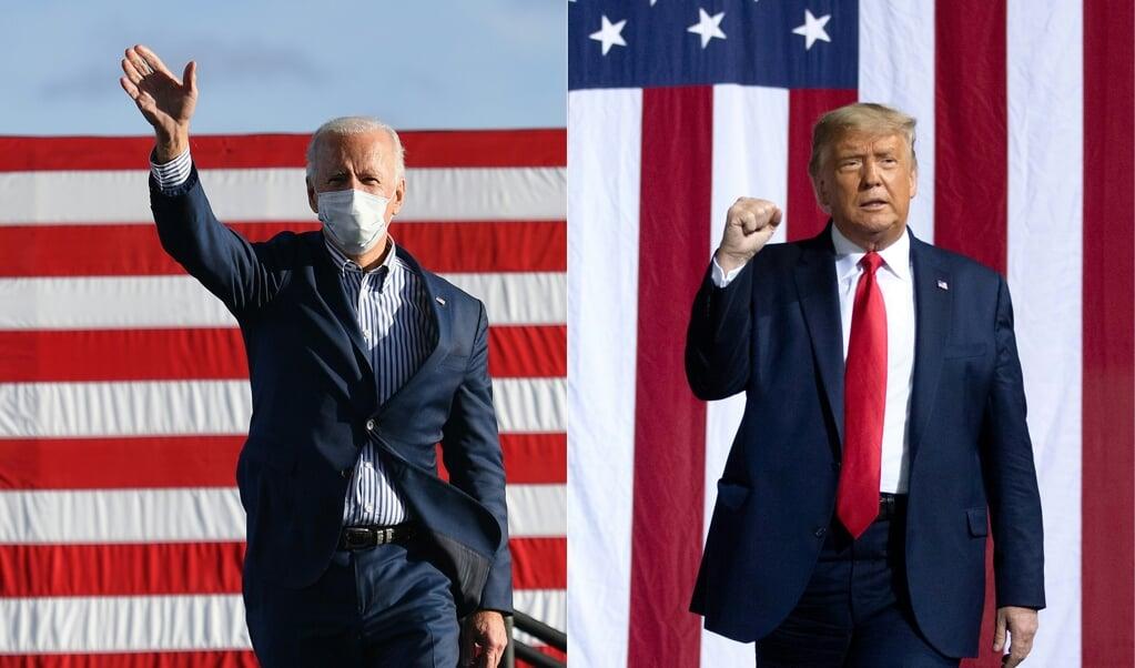 Democraat Joe Biden en de Republikeinse president Donald Trump.  (beeld afp)