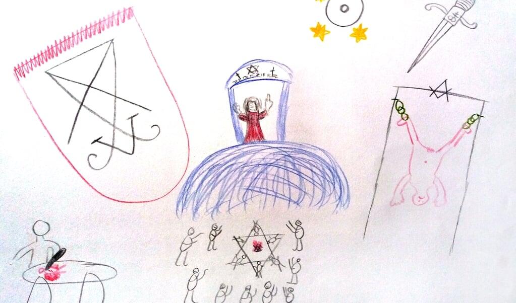 Een tekening van een slachtoffer over satanisch seksueel misbruik.   (beeld nd)