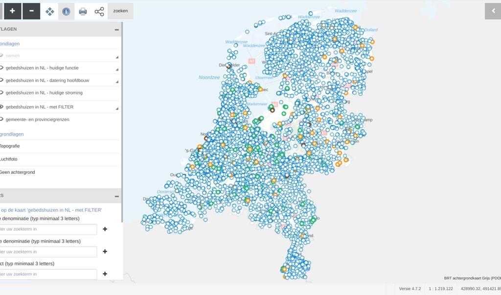 Alle kerken, synagogen, moskeeën en tempels in kaart gebracht op de website van de Rijksdienst van het Cultureel Erfgoed.  (beeld nd)