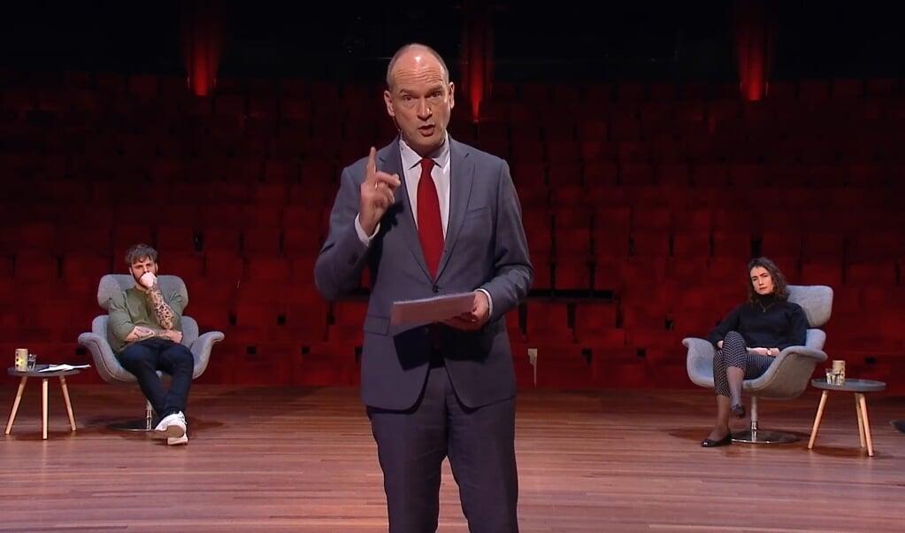 Gert-Jan Segers sprak zaterdag de Jan Terlouwlezing uit.   (beeld nd)