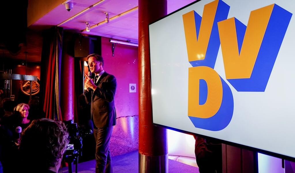 Lijsttrekker Mark Rutte van de VVD tijdens de uitslagenavond van de Provinciale Staten- en Waterschapsverkiezingen in 2019.  (beeld anp / Lex van Lieshout)