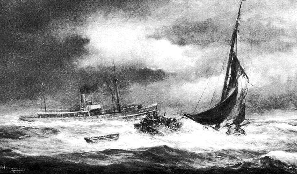 De Hoop vergaat bij Lemmer in april 1909. De kajuit werd van de boot geblazen.  (beeld Groninger Archieven)
