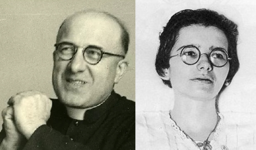 De priester Georges Finet (links) en de mystica Marthe Robin.  (beeld )
