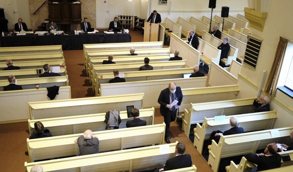 In september kon de CGK-synode nog een keer fysiek vergaderen in Nunspeet. De vergaderingen zijn nu online.  (beeld Dick Vos)