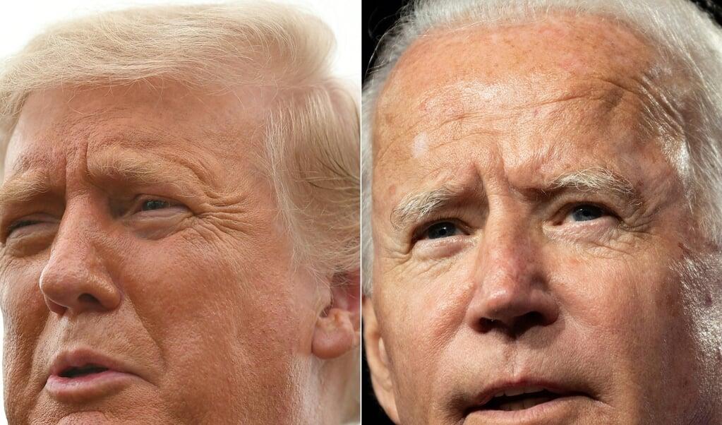 Ondanks vier jaar presidentschap is Trump (links) nog altijd de buitenstaander die Washington, nota bene vanuit het Witte Huis, onder vuur neemt. Juist omdat Biden (rechts) al zo lang in de landelijke politiek zit.   (beeld anp)