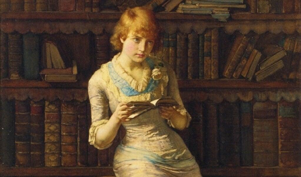 Lezende jonge vrouw op het schilderij 'Thoughts' van John Henry Henshall (1856-1928).  (beeld wikimedia)