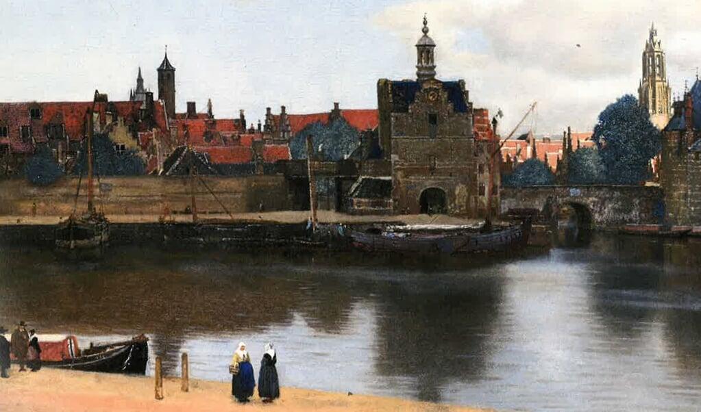 Op het schilderij Gezicht op Delft van Vermeer is een trekschuit te zien.  (beeld uit besproken boek)