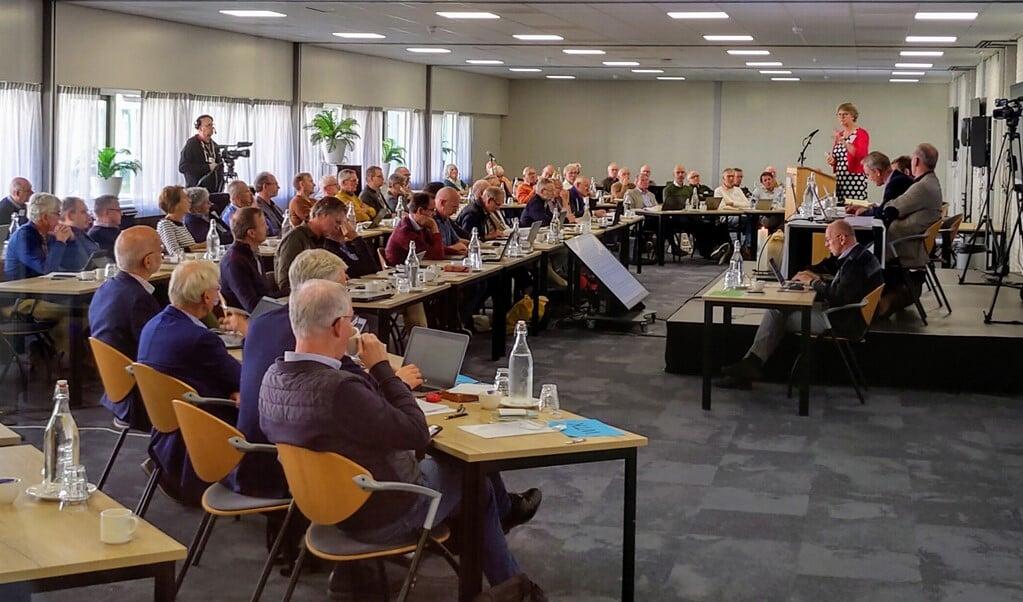De synode/landelijke vergadering van vrijgemaakt- en Nederlands-gereformeerden, zaterdag in conferentiecentrum Mennorode in Elspeet.   (beeld nd)