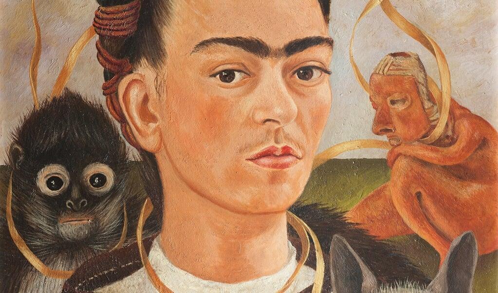 Zelfportret met aapje, 1945, olieverf op doek, Museo Dolores Olmedo, Xochimilco, Mexico.  (beeld Drents Museum)