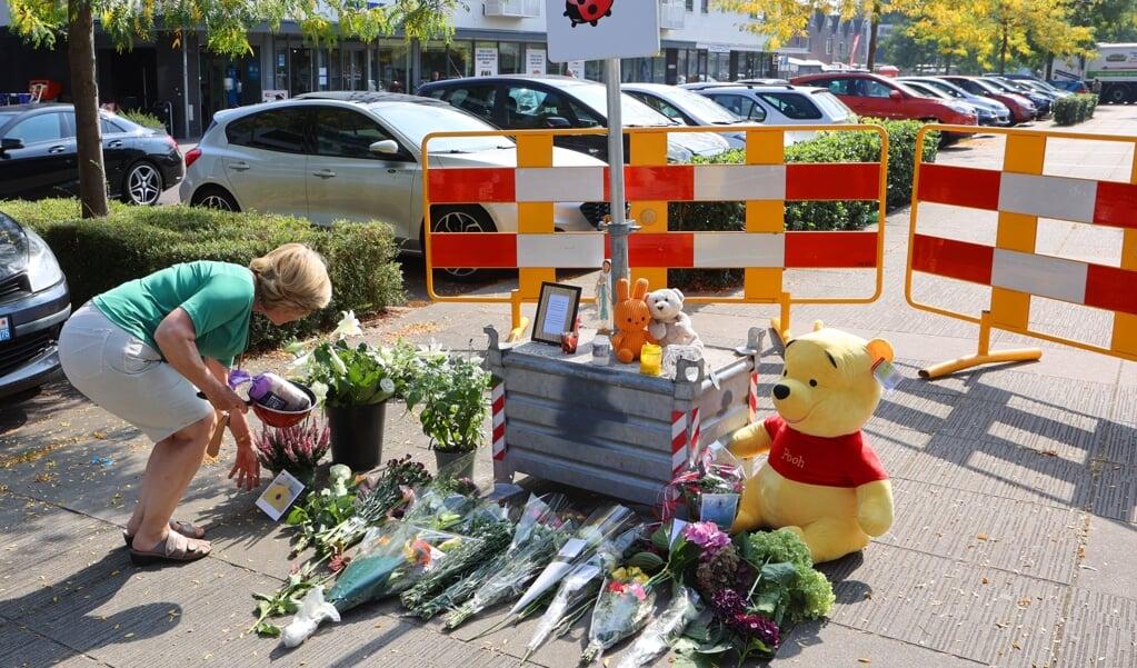 Een vrouw in Den Bosch legt bloemen op de plek waar een 34-jarige vrouw om het leven is gekomen door een steekpartij.   (beeld anp / Bart Meesters)