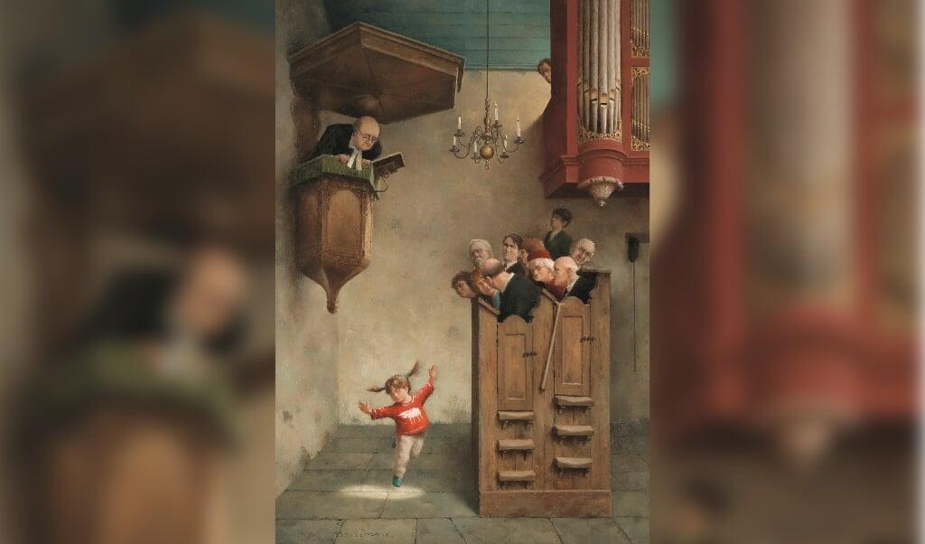 'Dansje in de kerk', het bekende schilderij van Marius van Dokkum.  (beeld Marius van Dokkum ©2005 - Art Revisited, Tolbert NL)