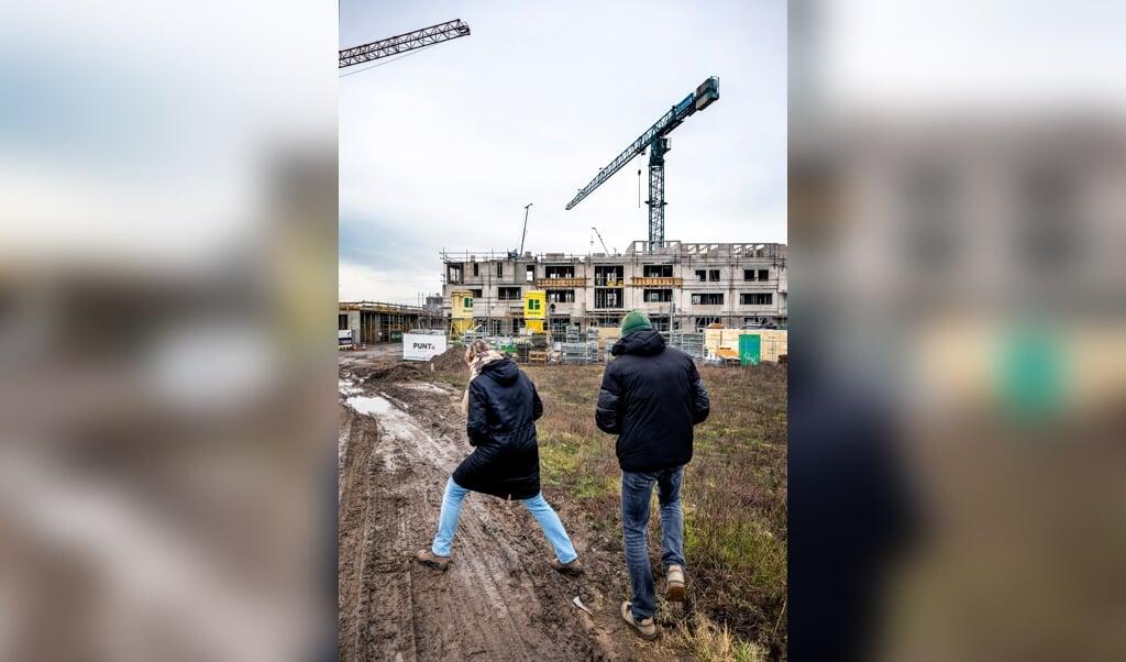 Woningen in aanbouw in het Utrechtse nieuwbouwproject Vogelhof.  (beeld Raymond Rutting)